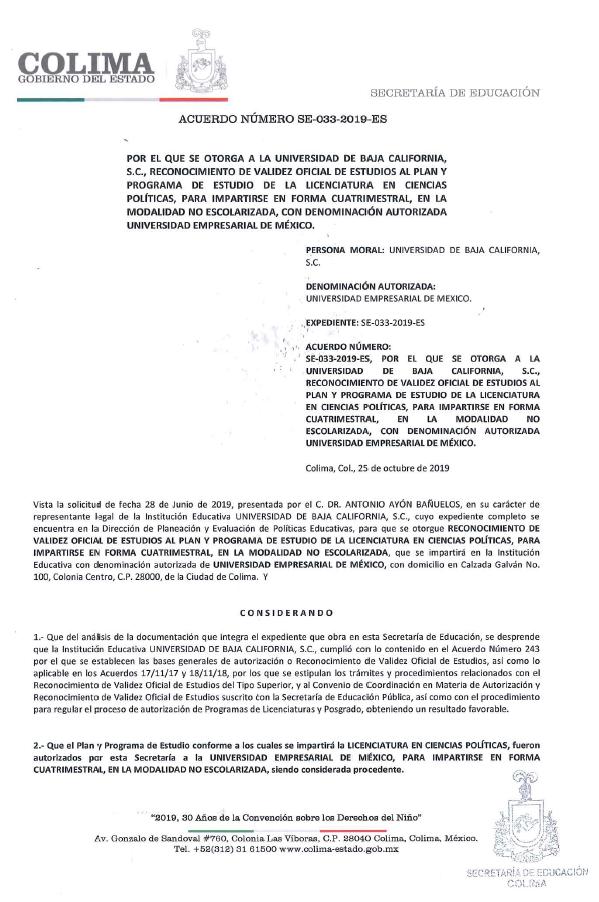 RVOE oficial: Licenciatura en Ciencias Políticas