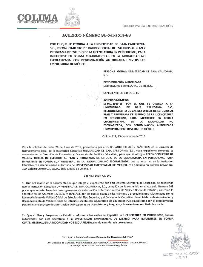 RVOE oficial: Licenciatura en Periodismo