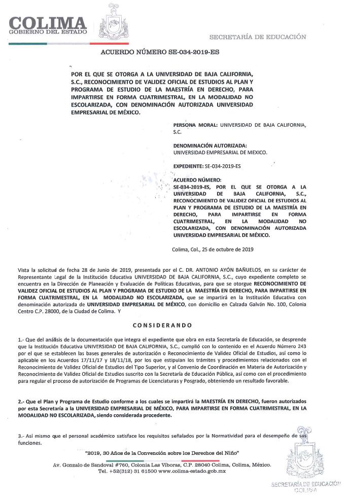 RVOE oficial: Maestría en Derecho
