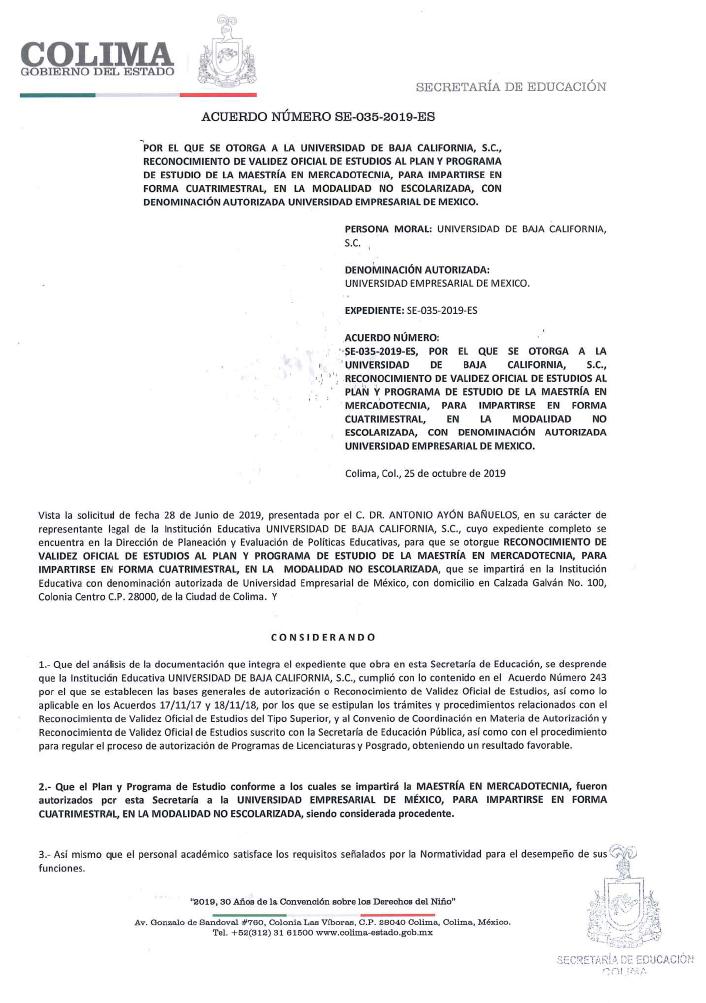 RVOE oficial: Maestría en Mercadotecnia