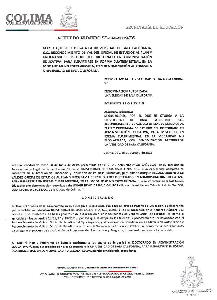 RVOE oficial: Doctorado en Administración Educativa